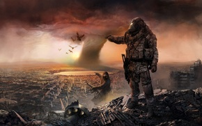 Picture clouds, soldiers, destruction, fighters, panorama, the ruins, the city, equipment, ruins, Apocalypse, the sky, tornado, ...
