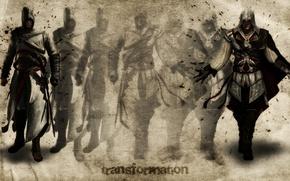 Picture art, Altair, assassin's creed, transformation, Ezio, transformation
