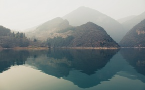 Picture water, mountains, reflection, hills