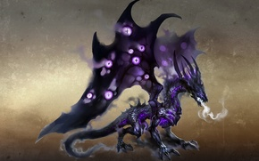 Wallpaper dragon, smoke, wings, breath, shadows, art, wings, Heroes of might and Magic 6, dragon, castle, ...