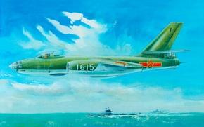 Picture Sea, bomber, Art, Aviation, scout, Ilyushin, Il-28, Flies, Beagle, Hound, 1615