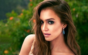 Picture greens, look, girl, face, background, Jessica Alba, makeup, actress, Jessica Alba