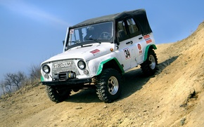 Picture sand, sport, slope, jeep, SUV, off road, UAZ, winch, TR-1