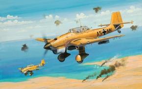 Picture war, art, airplane, painting, aviation, ww2, Junkers Ju 87B Stuka