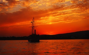 Picture sea, sunset, mountains, ship