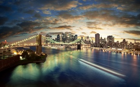 Wallpaper brooklyn bridge, new york, USA, new York, city, the city, lights, Brooklyn bridge, night, usa