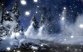 Picture winter, forest, snow, trees, snowflakes, night, stream, the snow, snowfall