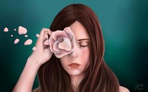 Wallpaper Gabrielle Ragusi, green, art, background, hand, painting, face, flower, rose, hair, closed eyes, petals, girl