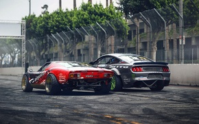 Picture Drift, Cars, Lamborghini Miura, Rear, Ford Mustang RTR, by Khyzyl Saleem