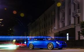 Picture night, blue, strip, traffic, subaru, blue, wrx, night, Subaru