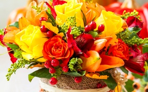 Picture flowers, photo, roses, bouquet, tulips, alstremeria