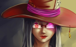 Picture hat, Witch, witchcraft, pentagram, grin, burning eyes, black magic