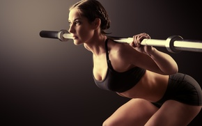 Picture woman, pose, workout, fitness, weight bar