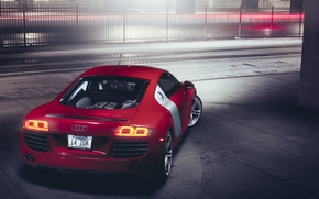 Picture Audi, red, rear, Supercar 4.2
