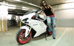Picture white, girl, brunette, motorcycle, girl, white, ducati, brunette, Ducati, sunglasses, 848 evo