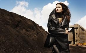 Picture the sky, look, girl, plant, model, coal, coat, Katerina Netolicka