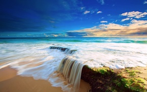Picture sea, beach, the sky, water, clouds, stones, waterfall, stream