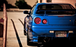 Wallpaper blue, nissan, back, skyline, Nissan, tail light