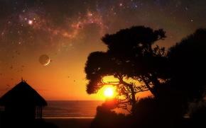 Wallpaper sunrise, the sun, night, stars