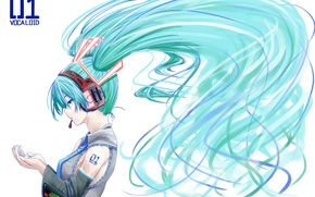 Picture girl, anime, headphones, art, tie, profile, microphone, vocaloid, hatsune miku, Vocaloid, omaru09
