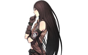 Picture white background, gloves, camouflage, long hair, art, Lin, Iwai Ryo, Advance Wars