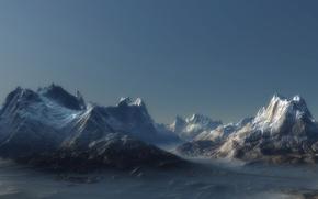 Picture landscape, mountains, fog, rocks, landscape, peak