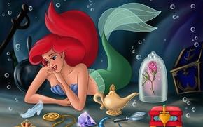 Wallpaper flowers, Walt Disney, fanart, mermaid, fanart, chest, princess, sea, tiara Aurora, Cinderella's slipper, fantasy world, ...