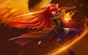 Picture girl, weapons, fire, magic, wings, katana, anime, art, ears, Shakugan no Shana, Shana, hanshu
