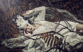 Picture leaves, branches, the situation, Asian, the bride, wedding dress