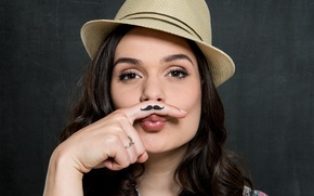Picture mustache, girl, hat, brunette, finger