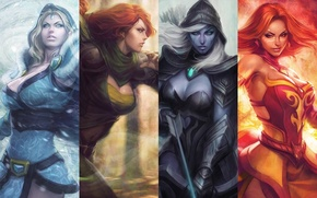 Picture game, girls, game, DotA 2, Defense of the Ancients, Dota 2, drow ranger, lina, crystal …