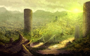 Picture mountains, hills, art, columns, ruins, fantasy world