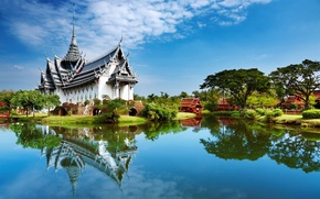Wallpaper lake, houses, Palace