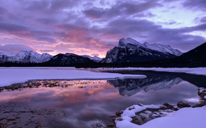 Picture the sky, clouds, mountains, lake, reflection, dawn, morning, Canada, Albert, National Park, Banff