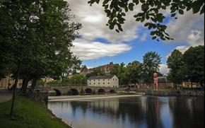 Picture bridge, Park, river, Sweden, river, Sweden, bridge, park, Örebro, Orebro