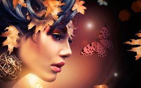 Wallpaper makeup, girl, butterfly, abstraction, face, profile, leaves