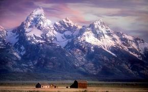 Picture mountains, valley, Wyoming, Wyoming, farm, Grand Teton National Park, Rocky mountains, Rocky Mountains, National Park …