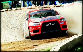 Picture Red, Dust, Sport, Race, Skid, Mitsubishi, Lancer, WRC, Rally, Rally