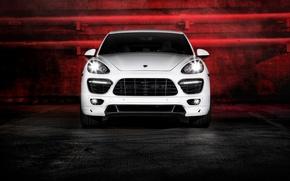 Picture glare, Porsche, white, Vorsteiner, front, Cayenne, 958