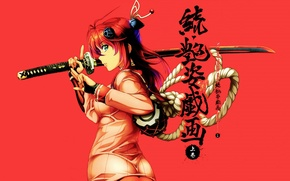 Picture katana, rope, characters, red, gesture, red background, drum, art, Nio