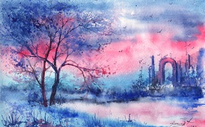 Picture birds, river, tree, the evening, arch, painted landscape