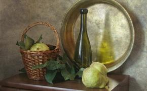 Picture basket, bottle, pear, still life, Taz