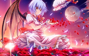 Picture wings, anime, art, girl, Touhou