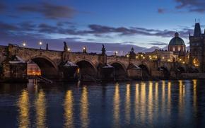 Picture night, bridge, lights, Prague, Czech Republic, capital, Nove Mesto, Nove Mesto