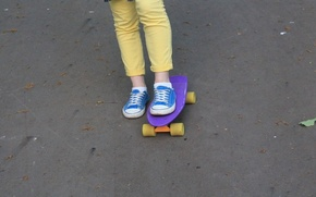 Picture blue, yellow, style, sport, sneakers, jeans, penny Board