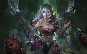 Wallpaper World of Warcraft, fan art, elf, girl, Chen Bo, Blood Elf