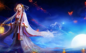 Picture water, butterfly, night, the moon, candles, lantern, kimono, priestess, white hair