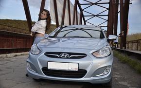 Picture auto, look, girl, bridge, Girls, Hyundai