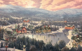 Wallpaper winter, forest, sunset, mountains, bridge, the city, lake, holiday, train, spruce, Christmas, mill, New year, ...