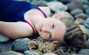 Wallpaper stones, mood, portrait, girl